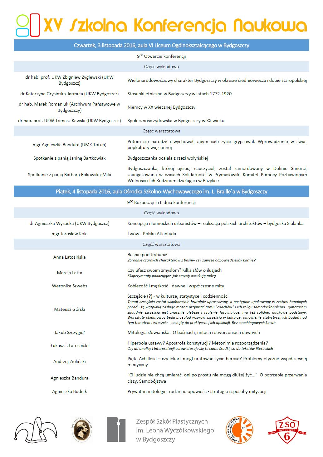 Program XV Szkolnej Konferencji Naukowej